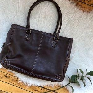 J. Crew brown leather handbag laptop bag briefcase